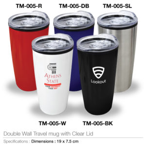 Double Wall Travel Mugs with Clear Lid