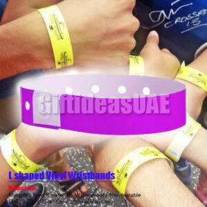 Plastic/Vinyl L shaped wristbands in Dubai